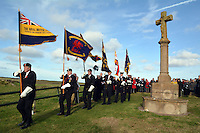 Pictured: Ex servicemen take part at the Remembrance Day service Friday 11 November 2016<br /> Re: Remembrance Day service at Freshwater West in Pembrokeshire, Wales, UK.