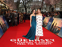 Jessica Brown Findlay and Lily James at The Guernsey Literary And Potato Peel Pie Society World Premiere at the Curzon Mayfair, London, on Monday April 9th 2018<br /> CAP/ROS<br /> &copy;ROS/Capital Pictures