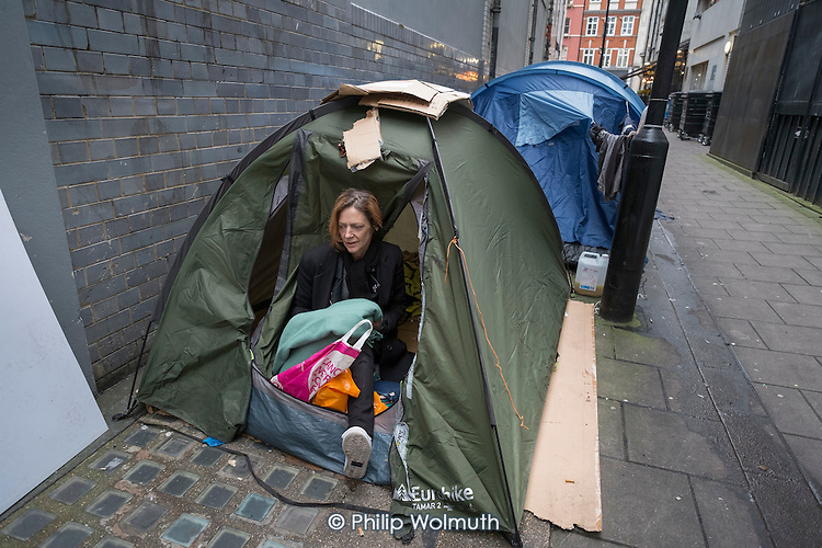 Tents used by rough sleepers in an alley off Oxford Street, London.