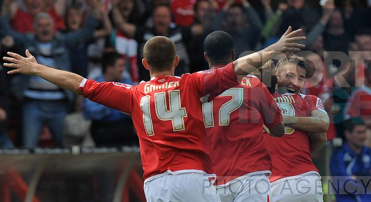 Radoslaw Majewski of Nottingham Forest (R) celebrates the opening goal