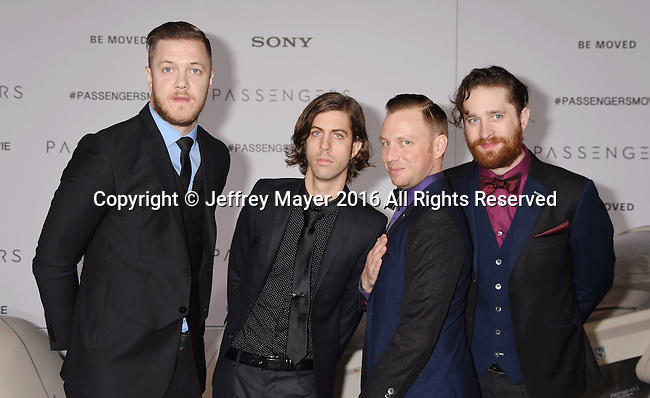 WESTWOOD, CA - DECEMBER 14: (L-R) Musicians Dan Reynolds, Daniel Wayne Sermon, Ben McKee and Daniel Platzman of Imagine Dragons arrive at the Premiere Of Columbia Pictures' 'Passengers' at Regency Village Theatre on December 14, 2016 in Westwood, California.