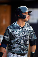 Tampa Yankees designated hitter Matt Snyder (29) in the dugout during a game against the Bradenton Marauders on April 15, 2017 at George M. Steinbrenner Field in Tampa, Florida.  Tampa defeated Bradenton 3-2.  (Mike Janes/Four Seam Images)