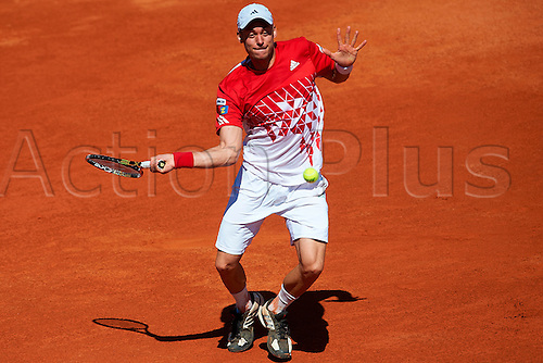 06.04.2012 Oropesa, Spain. Quarter Final Davis Cup. Andreas Haider-Mauder in action during second match of Quarter finals  game of Davis Cup played at Oropesa town.