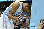 14 February 2016: North Carolina's Brice Johnson bangs his head on the upright in frustration after touching a ball that was headed out of bounds. The University of North Carolina Tar Heels hosted the University of Pittsburgh Panthers at the Dean E. Smith Center in Chapel Hill, North Carolina in a 2015-16 NCAA Division I Men's Basketball game. UNC won the game 85-64.