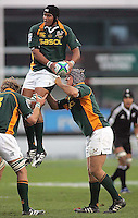 South African second row Cornell Hess collects this lineout ball during the U19 Championship final against New Zealand at Ravenhill, Belfast.