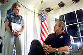 United States President George W. Bush and counselor Karen Hughes prepares for his address to the nation on stem cell research at the Bush Ranch in Crawford, Texas, Thursday, August 9, 2001. <br /> Mandatory Credit: Eric Draper / White House via CNP