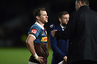 Nick Evans of Harlequins is interviewed for BT Sport after the match. Aviva Premiership match, between Harlequins and Wasps on April 28, 2017 at the Twickenham Stoop in London, England. Photo by: Patrick Khachfe / JMP