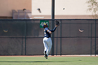 Milwaukee Brewers left fielder LG Castillo (57) prepares to catch a fly ball during an Instructional League game against the Los Angeles Dodgers at Maryvale Baseball Park on September 24, 2018 in Phoenix, Arizona. (Zachary Lucy/Four Seam Images)
