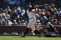 SAN FRANCISCO, CA - SEPTEMBER 12:  Evan Longoria #10 of the San Francisco Giants bats against the Pittsburgh Pirates during the game at Oracle Park on Thursday, September 12, 2019 in San Francisco, California. (Photo by Brad Mangin)