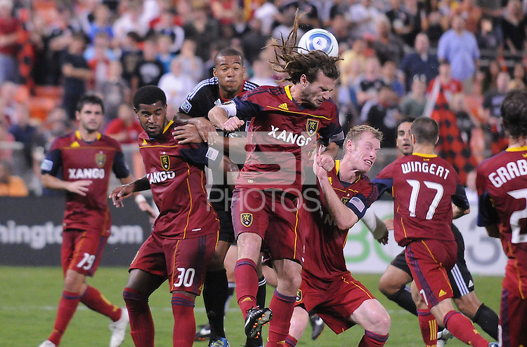 Real Salt Lake midfielder Kyle Beckerman (5)goes up to head the ball. D.C. United defeated Real Salt Lake 4-1 at RFK Stadium, Saturday September 24 , 2011.