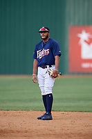 Elizabethton Twins shortstop Ricky De La Torre (7) during a game against the Bristol Pirates on July 29, 2018 at Joe O'Brien Field in Elizabethton, Tennessee.  Bristol defeated Elizabethton 7-4.  (Mike Janes/Four Seam Images)