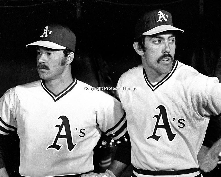 Oakland Athletics catchers Gene Tenace and Ray Fosse..(1975 photo/Ron Riesterer)