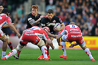 Ross Ford of Edinburgh Rugby takes on the Gloucester defence. European Rugby Challenge Cup Final, between Edinburgh Rugby and Gloucester Rugby on May 1, 2015 at the Twickenham Stoop in London, England. Photo by: Patrick Khachfe / Onside Images