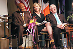 Harry Belafonte, Tina Brown, and Len Cariou on stage, at the John Jay Justice Award ceremony, April 5 2011.