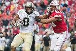 Wisconsin Badgers linebacker T.J. Edwards (53) tackles Purdue Boilermakers running back Markell Jones (8) during an NCAA College Big Ten Conference football game Saturday, October 14, 2017, in Madison, Wis. The Badgers won 17-9. (Photo by David Stluka)