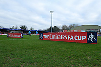 FA Cup signage on the pitch ahead of Woking vs Watford, Emirates FA Cup Football at The Laithwaite Community Stadium on 6th January 2019