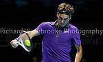 Roger Federer (SUI) beats Janko Tipsarevic (SRB)  6:3  6:1 ..Barclays ATP World Tour Finals 2012  O2 Arena .Photo: Richard Washbrooke Tennis Head...
