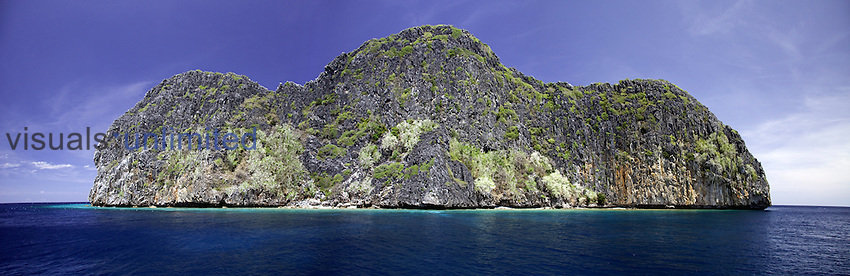 Quiminatin island, part of the Cuyo Archipelago just north of the Sulu Sea in the Philippines. Digital composite.