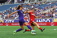 Orlando, FL - Sunday June 26, 2016: Alex Morgan, Emily Menges  during a regular season National Women's Soccer League (NWSL) match between the Orlando Pride and the Portland Thorns FC at Camping World Stadium.