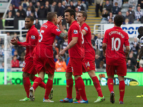 27.04.2013 Newcastle England.  Liverpools Jordan Henderson celebrates scoring making it 6-0   during the English Premier league game between Newcastle United and Liverpool,  From The Sports Direct Arena, St James Park, Stadium, Newcastle.