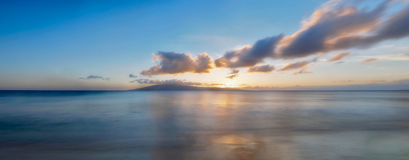 Sunset from Maui. Lanai in background. Maui, Hawaii