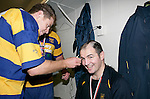 Coach Craig Carter gets his head shaved by John Penberthy. McNamara Cup final - Premier 1 Championship, Patumahoe v Ardmore Marist. Patumahoe won 13 - 6. Counties Manukau club rugby finals played at Growers Stadium, Pukekohe, 24th of June 2006.