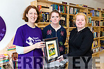 Painting by Mary Sheehan donated to Down Syndrome Kerry. Pictured Rachel Fitzgerald, Patricia Pierce and Rebecca O'Donoghue