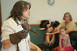 NAUGATUCK, CT, 29 September, 2017 - 092917LW03 - Mary-Beth Kaeser, holds Spirit, an American kestrel, as she speaks about the rescued creature to a group of pre-schoolers at the Whittemore Library in Naugatuck Friday morning. Spirit is an educational raptor from Horizon Wings, a wildlife rehabillitation center based in Ashford. <br /> Laraine Weschler Republican-American
