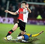 Nederland, Rotterdam, 1 december  2012.Eredivisie.Seizoen 2012-2013.Feyenoord-RKC Waalwijk.Daryl Janmaat van Feyenoord in duel om de bal met Nourdin Boukhari van RKC