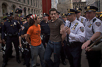 Occupy Wall Street members detained by NYPD officers during a weekly march called by every friday on Wall Street in New York, United States. 23/03/2012.  Photo by Eduardo Munoz Alvarez / VIEWpress.