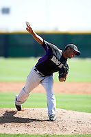 Colorado Rockies minor league pitcher Nelson Gonzalez #48 during an instructional league game against the San Francisco Giants at the Salt River Flats Complex on October 4, 2012 in Scottsdale, Arizona.  (Mike Janes/Four Seam Images)