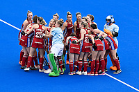 2nd February 2020; Sydney Olympic Park, Sydney, New South Wales, Australia; Womens International FIH Field Hockey, Australia versus Great Britain Women; Great Britain break the huddle before the game