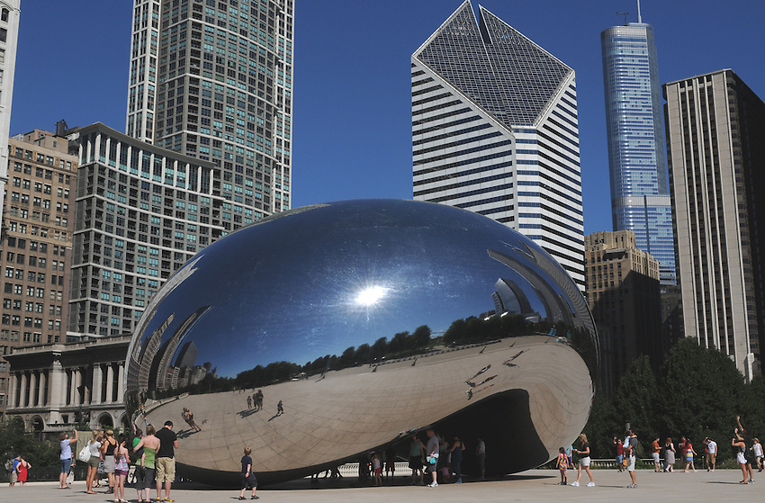 """Cloud Gate"", often referred to as ""The Jelly Bean"" is an outdoor public art installation by British Artist Anish Kapoor within Chicago's magnificent Millenium Park."