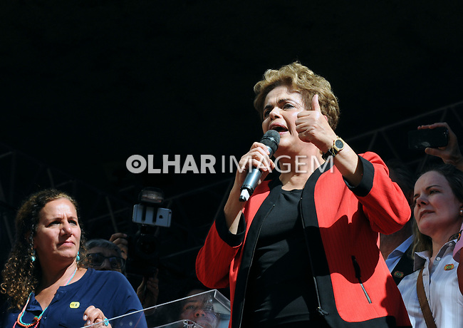 Presidente Dilma Rousseff. Primeiro de Maio da CUTno Anhangabau. SP. 2016. Foto de Marcia Minillo.