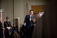 Roma, 21 Febbraio, 2014. Matteo Renzi durante la conferenza stampa al Quirinale subito dopo aver presentato la lista del suo governo al Presidente Giorgio Napolitano.<br /> Matteo Renzi, Italy's incoming prime minister, speaks during a news conference to announce the names of the cabinet ministers that will form Italy's new government, at the Quirinale Palace in Rome.