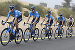 The peloton including Movistar Team during Stage 4 of the 2019 UAE Tour, running 197km form The Pointe Palm Jumeirah to Hatta Dam, Dubai, United Arab Emirates. 26th February 2019.<br /> Picture: LaPresse/Fabio Ferrari | Cyclefile<br /> <br /> <br /> All photos usage must carry mandatory copyright credit (© Cyclefile | LaPresse/Fabio Ferrari)