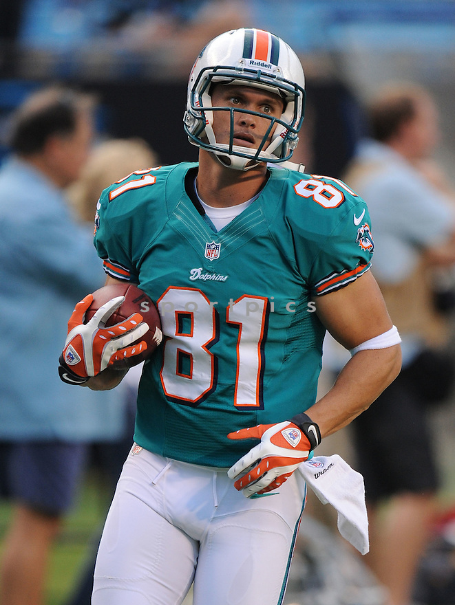 CHRIS HOGAN (81) of the Miami Dolphins, in action during the Dolphins game against the Carolina Panthers on August 17, 2012 at Bank of America Stadium in Charlotte, NC. The Panthers beat the Dolphins 23-17.