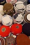 West Jerusalem, Israel, Machane' Yehuda market. A variety of Yarmulkas (skullcaps) on display<br />