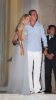 Prince Nikolaos of Greece and Tatiana Blatnik attend a Cocktail Party at The Poseidonion Hotel, in Spetses, Greece, on the eve of their Wedding