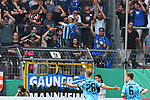 11.08.2019, Carl-Benz-Stadion, Mannheim, GER, DFB Pokal, 1. Runde, SV Waldhof Mannheim vs. Eintracht Frankfurt, <br /> <br /> DFL REGULATIONS PROHIBIT ANY USE OF PHOTOGRAPHS AS IMAGE SEQUENCES AND/OR QUASI-VIDEO.<br /> <br /> im Bild: Jan Hendrik Marx (SV Waldhof Mannheim #26) jubelt ueber das Tor zum 3:2 mit Marco Schuster (SV Waldhof Mannheim #6)<br /> <br /> Foto © nordphoto / Fabisch