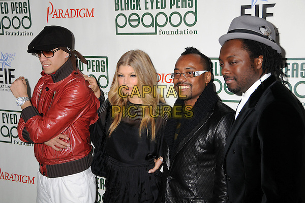 BLACK EYED PEAS - TABOO, FERGIE, APL.DE.AP & WILL.I.AM.4th Annual Peapod Foundation Benefit Concert at Avalon, Hollywood, California, USA..February 7th, 2008.half length dress black eyed peas Stacy Ferguson black red leather jacket sunglasses shades grey gray hat jacket bag purse .CAP/ADM/BP.©Byron Purvis/AdMedia/Capital Pictures.