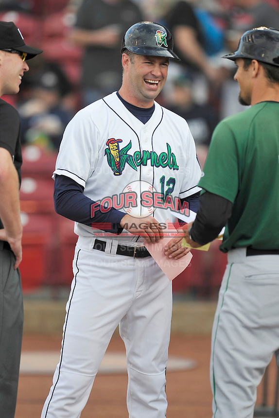 Cedar Rapids Kernels Manager Jake Mauer (12) in a home plate meeting prior to the game against the Clinton LumberKings at Veterans Memorial Stadium on April 15, 2016 in Cedar Rapids, Iowa.  Clinton won 11-5.  (Dennis Hubbard/Four Seam Images)