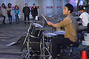 Drummers busking late at night in Sakae, Nagoya city.