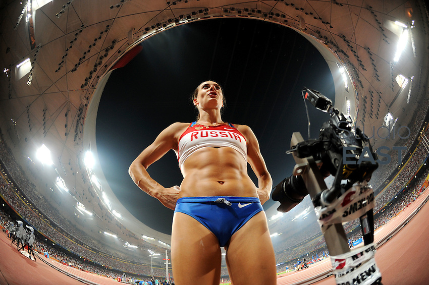 Russia's Elena Isinbaeva speaks with her coach during women's pole vault final competition in Beijing Olympics, on August 18, 2008, in Beijing, China. Photo by Lucas Schifres/Pictobank/Cameleon/ABACAPRESS.COM