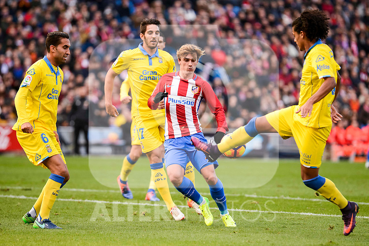 Atletico de Madrid Antoine Griezmann and UD Las Palmas Angel Montero, Pedro Bigas and Pablo Mauricio Lemos during La Liga match between Atletico de Madrid and UD Las Palmas at Vicente Calderon Stadium in Madrid, Spain. December 17, 2016. (ALTERPHOTOS/BorjaB.Hojas)