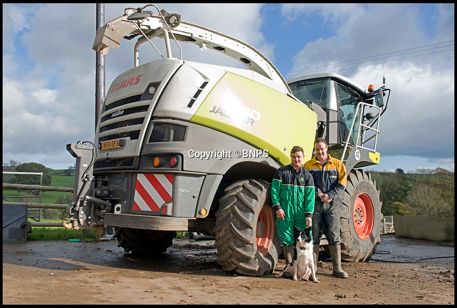 BNPS.co.uk (01202 558833)Pic: LeeMcLean/BNPS<br /> <br /> Farmer Josh Sibley (22 - L), Winnie the dog (3) and Edward Bowditch (34). Edward was driving the forager at the time of the incident.<br /> <br /> Winnie the wonder dog...<br /> <br /> A pregnant sheepdog had a miracle escape after she was run over by a 15-tonne tractor - and survived because she was pushed into the soft mud.<br /> <br /> Shepherd Josh Sibley feared the worst when Winnie, a Border Collie, chased a rabbit under the 2ft wide tyre of a forage harvester.<br /> <br /> Luckily, because the ground was so soft Winnie was pinned down into the mud rather than being crushed to death.