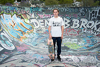 "Zander (Alexander) Silverman '17, an Urban & Environmental Policy major, wrote his senior comprehensive paper (comp) on ""Skating to Success: What an Afterschool Skateboard Mentoring Program Can Bring to PUSD Middle Schoolers."" Photo taken May 17, 2017 at Garvanza Skatepark in Highland Park.<br />