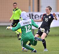 Monfalcone, Italy, April 26, 2016.<br /> Iran's goalkeeper #12 Naffei saves on USA's #15 Martinez during USA v Iran football match at Gradisca Tournament of Nations (women's tournament). Monfalcone's stadium.<br /> &copy; ph Simone Ferraro / Isiphotos