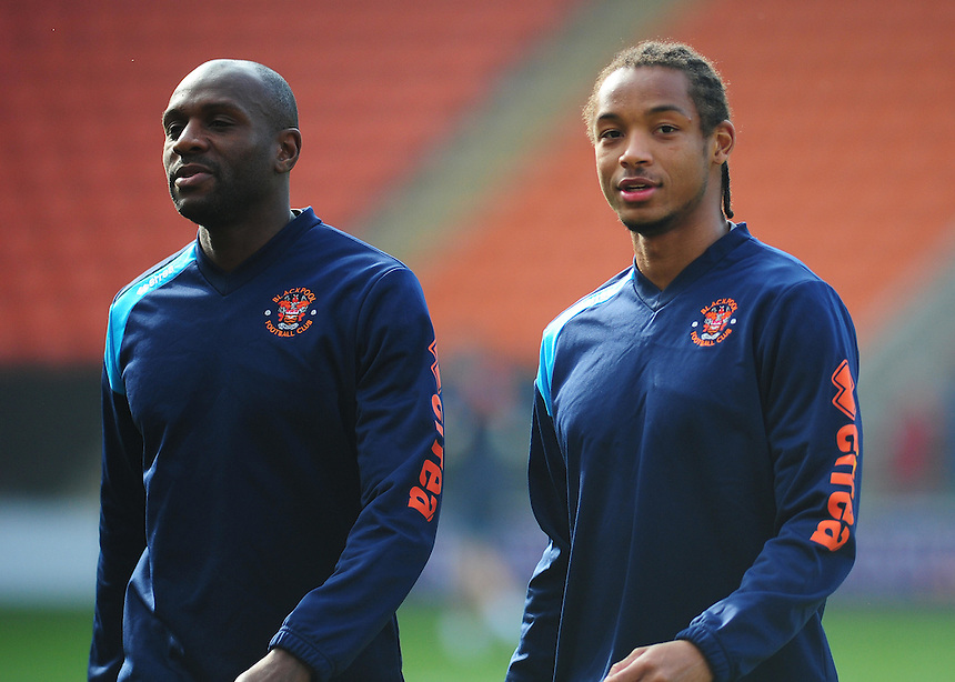 Blackpool's Emmerson Boyce (left) and Kwame Thomas during the pre-match warm-up <br /> <br /> Photographer Kevin Barnes/CameraSport<br /> <br /> Football - The Football League Sky Bet League One - Blackpool v Swindon Town - Saturday 3rd October 2015 - Bloomfield Road - Blackpool<br /> <br /> &copy; CameraSport - 43 Linden Ave. Countesthorpe. Leicester. England. LE8 5PG - Tel: +44 (0) 116 277 4147 - admin@camerasport.com - www.camerasport.com