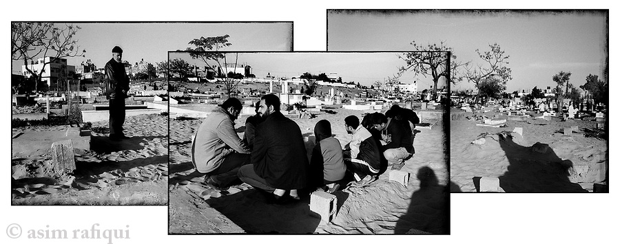 Location: Beit Hanoun, Gaza..The war may be over but families continue to mourn their dead - family members gather after Friday namaaz (prayers) to offer prayers at the graves of their recently dead.